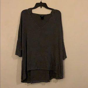 Grey Hooded Long Sleeved Shirt